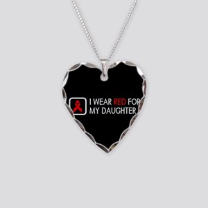 Red Ribbon: Red for my Daught Necklace Heart Charm