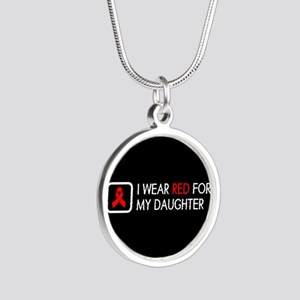 Red Ribbon: Red for my Daugh Silver Round Necklace