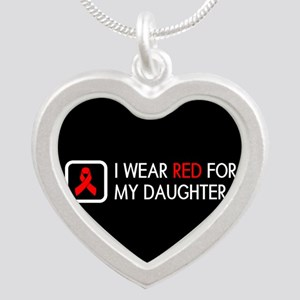 Red Ribbon: Red for my Daugh Silver Heart Necklace