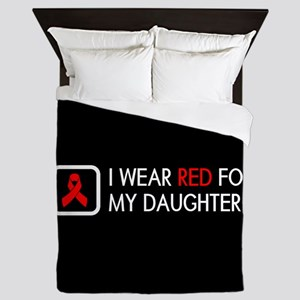 Red Ribbon: Red for my Daughter Queen Duvet