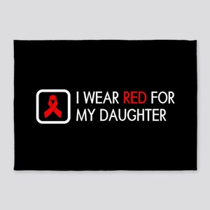 Red Ribbon: Red for my Daughter 5'x7'Area Rug