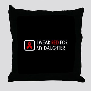 Red Ribbon: Red for my Daughter Throw Pillow