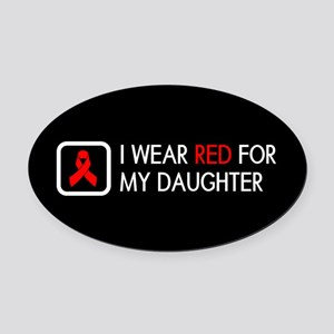 Red Ribbon: Red for my Daughter Oval Car Magnet