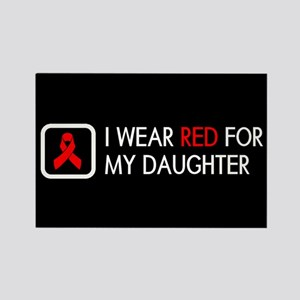 Red Ribbon: Red for my Daughter Rectangle Magnet