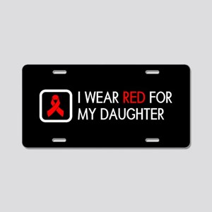 Red Ribbon: Red for my Daug Aluminum License Plate