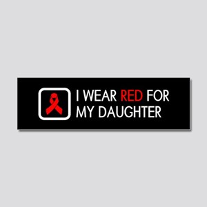 Red Ribbon: Red for my Daughter Car Magnet 10 x 3
