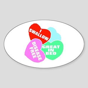 NAUGHTY HEARTS Oval Sticker
