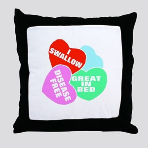 NAUGHTY HEARTS Throw Pillow