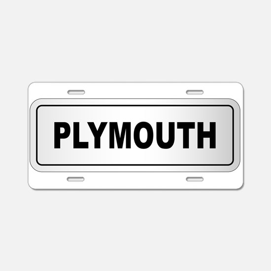 Plymouth City Nameplate Aluminum License Plate