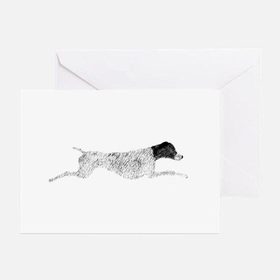 Black & White Leaping GSP Greeting Cards (Package
