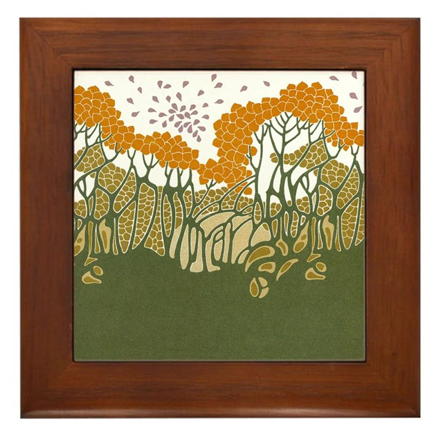 Arts and crafts trees framed tile by gurugoods for Arts and crafts floor tile