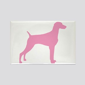Pink Weimaraner Rectangle Magnet