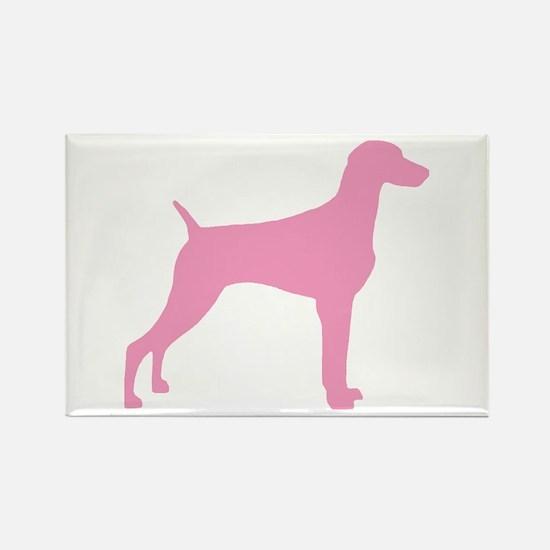 Pink Weimaraner Rectangle Magnet