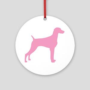 Pink Weimaraner Ornament (Round)