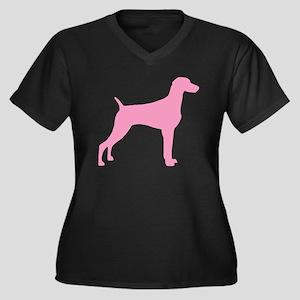 Pink Weimaraner Women's Plus Size V-Neck Dark T-Sh