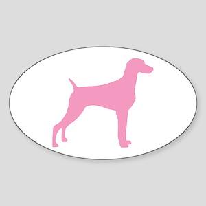 Pink Weimaraner Oval Sticker