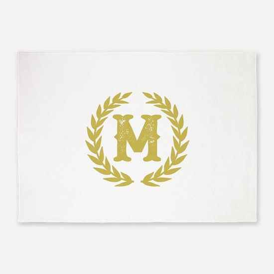 Mustard Yellow Monogram: Letter M 5'x7'Area Rug