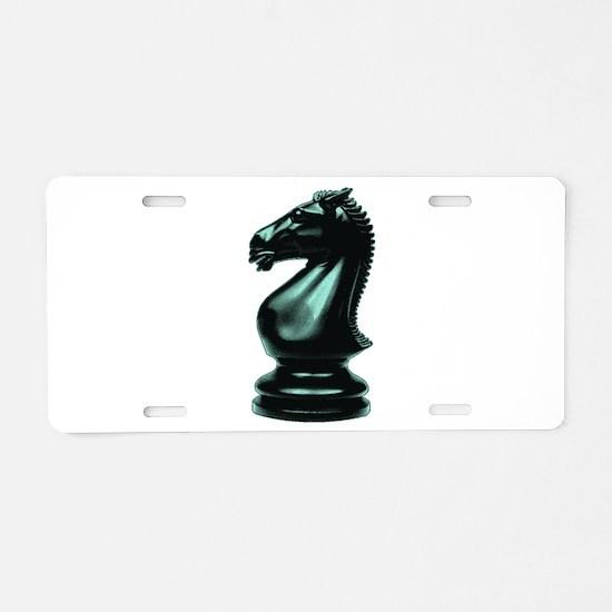 Black Chess Knight Aluminum License Plate