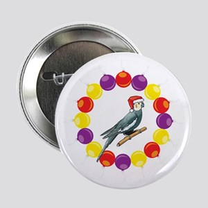 "Cockatiel Christmas Ornaments 2.25"" Button"