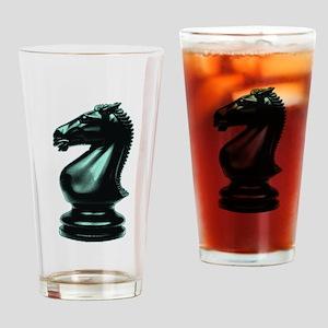 Black Chess Knight Drinking Glass