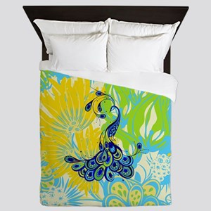 floral peacock Queen Duvet
