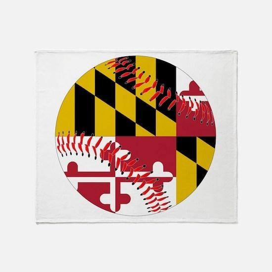 Maryland Flag Baseball Throw Blanket