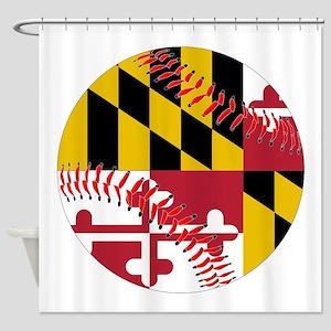 Maryland Flag Baseball Shower Curtain