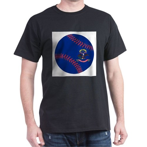 North Dakota Flag Baseball T-Shirt