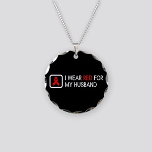 Red Ribbon: Red for my Husba Necklace Circle Charm