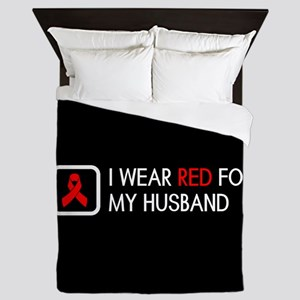 Red Ribbon: Red for my Husband Queen Duvet