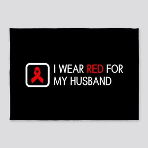 Red Ribbon: Red for my Husband 5'x7'Area Rug
