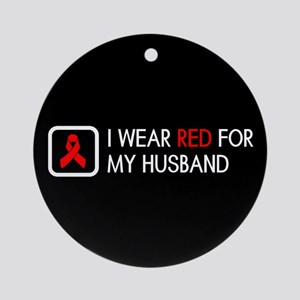 Red Ribbon: Red for my Husband Round Ornament