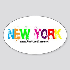 Colorful New York Oval Sticker