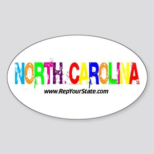 Colorful North Carolina Oval Sticker