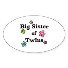 Big Sister Of Twins Oval Sticker