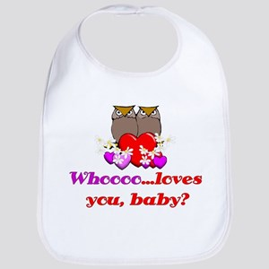Valentine's Day Owls Bib