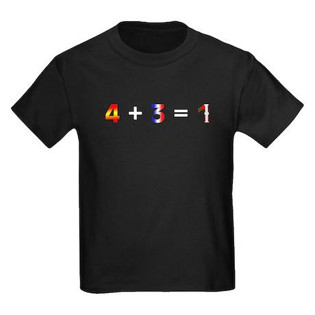 4 + 3 = 1 Kids Dark T-Shirt