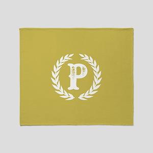 Mustard Yellow Monogram: Letter P Throw Blanket