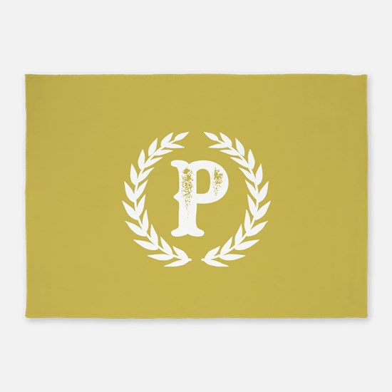 Mustard Yellow Monogram: Letter P 5'x7'Area Rug