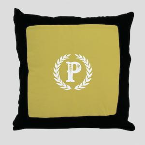 Mustard Yellow Monogram: Letter P Throw Pillow