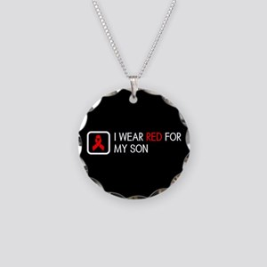 Red Ribbon: Red for my Son Necklace Circle Charm