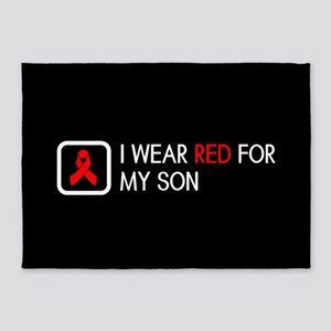 Red Ribbon: Red for my Son 5'x7'Area Rug