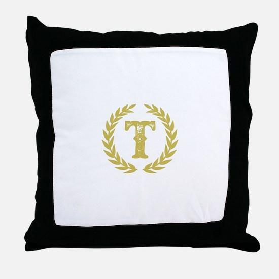 Mustard Yellow Monogram: Letter T Throw Pillow
