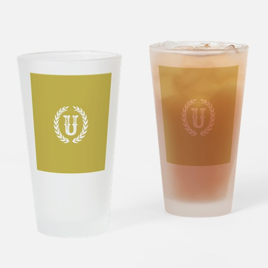 Mustard Yellow Monogram: Letter U Drinking Glass
