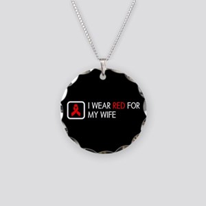 Red Ribbon: Red for my Wife Necklace Circle Charm