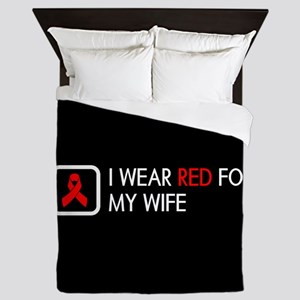 Red Ribbon: Red for my Wife Queen Duvet