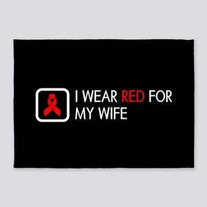 Red Ribbon: Red for my Wife 5'x7'Area Rug