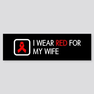 Red Ribbon: Red for my Wife Sticker (Bumper)