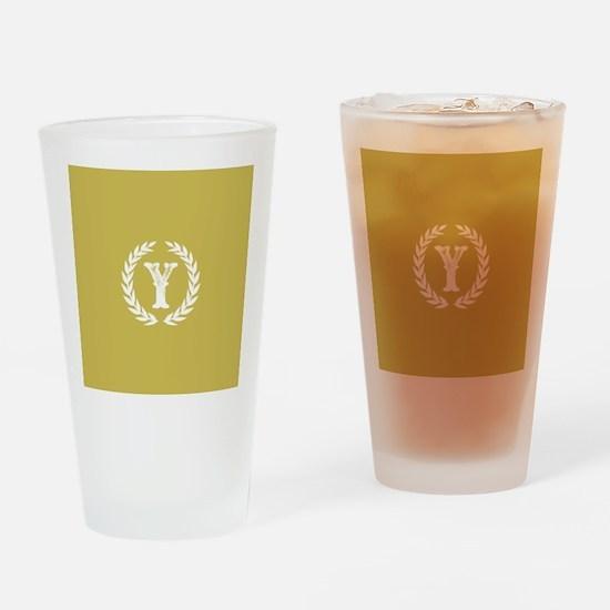 Mustard Yellow Monogram: Letter Y Drinking Glass