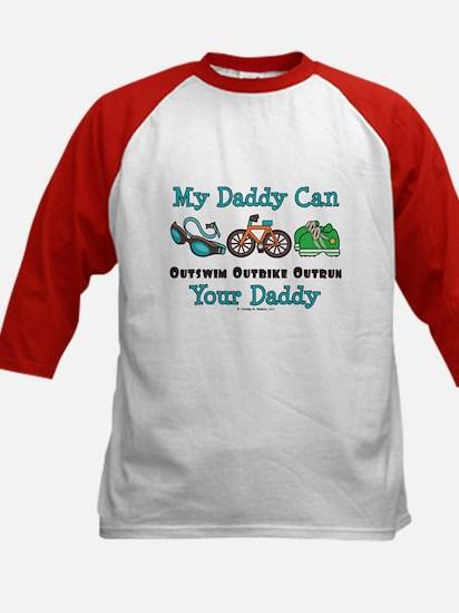 My Daddy Triathlon Kids Baseball Jersey